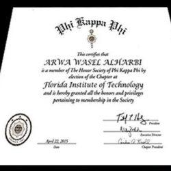 ريم الربيعة تحصد شهادة التميز على مستوى الجامعات الأمريكية